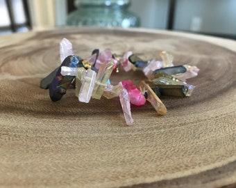 Raw crystal quartz teeth bracelet