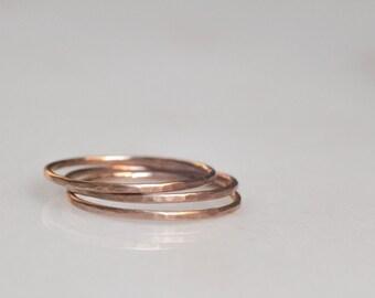 14k rose gold fill hammered stacking bands