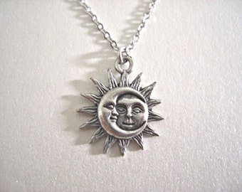 Silver Sun and Moon Pewter Charm Necklace, Love & Friendship, Soulmate, Gift for her