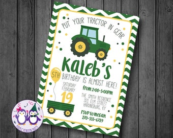 Tractors Birthday Party Invitation