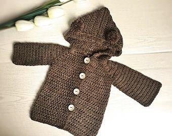 CROCHET PATTERN,sizes 0-6montha up to 9-10years,  Bear hoodie Barny cardigan