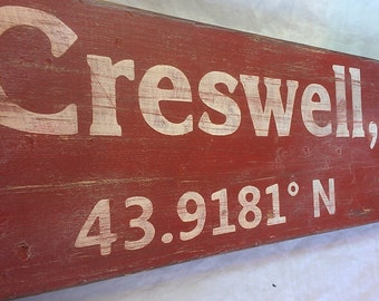 Personalized City State and Latitude Longitude Wood Sign - Hand Made Custom Wooden Decor