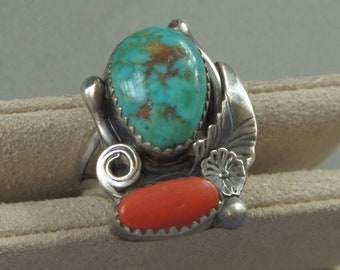 SIGNED Vintage NATIVE American Indian Turquoise RING Red Coral Gemstone Sterling Silver Navajo Womens Jewelry Rings, Size 6, Summer Gift