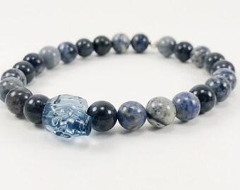 Mens Bracelet - Gothic Bracelet - Stretch Bracelet - Blue Gemstone Bracelet - Skull Bracelet - Dumortierite Bracelet  - Gothic Jewelry