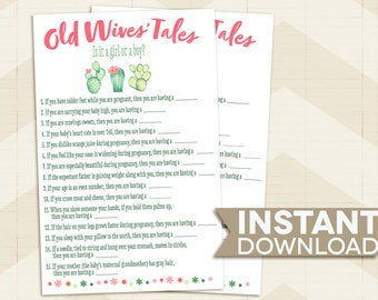 Old Wive's Tales BABY SHOWER game / Cactus Baby Shower game / succulents / desert / pink / green