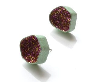 pastel green with magenta and purple glitter, modern geode earrings, powder coat copper and sparkles, geometric jewelry, unique gift