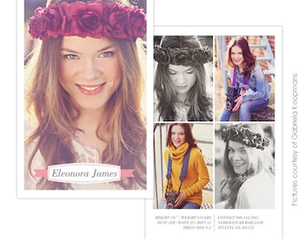INSTANT DOWNLOAD - Modeling Comp Card Photoshop templates - E750