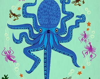 Otto Learns How to Juggle - Children's Octopus Animal Art - Limited Edition Print - by Oliver Lake - iOTA iLLUSTRATION