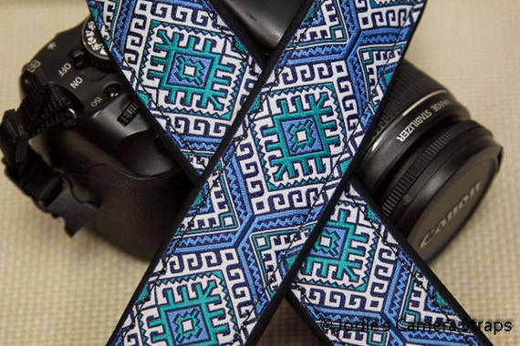 "Camera Strap Aztec Turquoise Green 1.5"" Wide Custom Padded Fits DSLR SLR 5477"