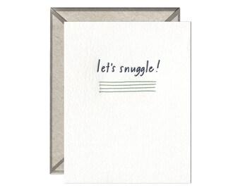 Let's Snuggle letterpress card