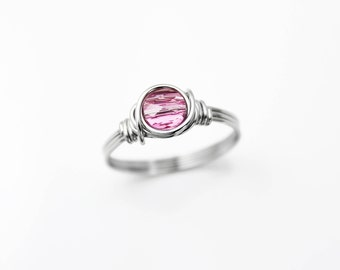 Purity Ring - Birthstone Ring - Wire Wrapped Ring - Gift For Her - Promise Ring - Rings For Women - Stainless Steel Ring - Pink Ring - Rings