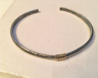 Blackened Silver and Gold bangle