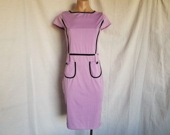 Vintage Waitress Style Pencil Dress Purple Lilac with Black Stretch Wiggle Dress New Misses 2-4