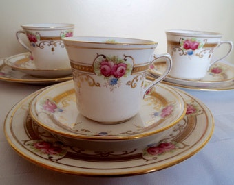 Vintage Tea Cup and Saucer Trio, Hand Painted Royal Albert Teacup and Saucer and Cake Plate with Pink Roses And Rich Gold. Very Special