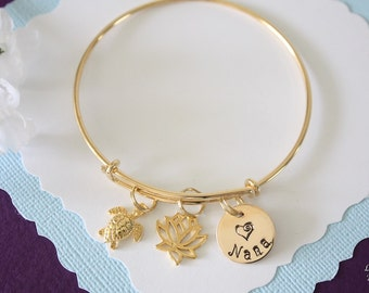 Lotus Bangle Grandma Bangle Bracelet Gold, Initial Bangle, Expandable, Gold Filled, Nana Bracelet, Mother, Turtle Bangle, Monogram Bangle