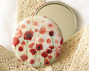 Pocket mirror - Poppies Field