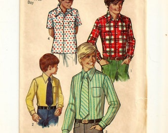 """A Long and Short Sleeve, Straight Hemline Shirt and Neck Tie Sewing Pattern: Boys Size 7, Chest 26"""" • Simplicity 8901"""