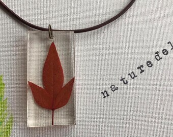 red sacred bamboo pendant necklace