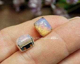 Pink Fire Opal Vintage West German Glass Cabochon 10x8mm Octagon in a 4-hole Prong Setting Gold Plated Sew On Wire Jewelry Supply