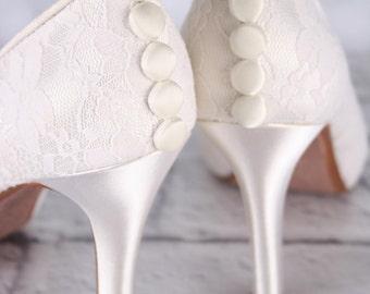 Ivory Wedding Shoes, Lace Wedding Shoes, Ivory Lace Wedding Shoes, Lace Bridal Shoes, Custom Wedding Shoes, Simple Wedding Shoes, Ivory Shoe