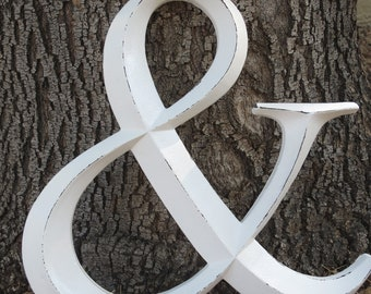 "Ampersand Symbol / Resin ""AND"" Sign / Antique White or Pick Color/ Wedding Decor/ Office Nursery Mantle Decor/ Large Wall Letter/ Photo Prop"