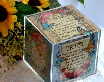MOSAIC JOURNEY CUBE altered collage art therapy acrylic block square  inspirational hope