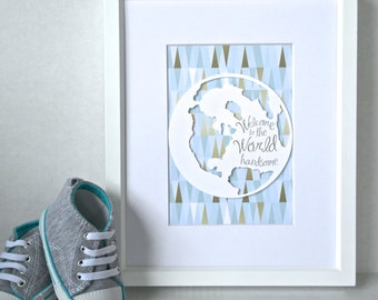 Travel Nursery, Travel Theme Nursery, Travel Nursery Decor, Travel Nursery Art, Welcome to the World, Map Nursery Art, Baby Travel Nursery