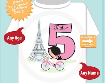 Fifth Paris Birthday Shirt, Pink 5 Birthday Shirt, Personalized Girls Birthday Shirt Pink Age and Name Tee for kids (08222016b)