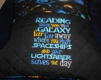Galaxy Embroidered Reading Pillow