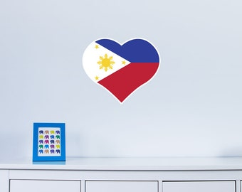Heart Shaped National Flag of Philippines Vinyl Wall Art