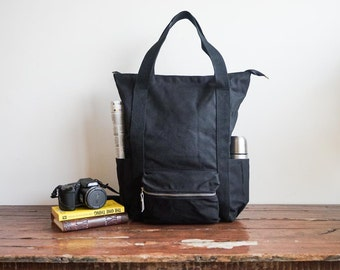 Wax Canvas Backpack, Diaper backpack tote, 9 Pockets, Laptop Backpack, Vegan rucksack, Convertible backpack, Wax canvas bag Black canvas bag