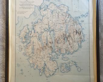 Rare 1896 Topography Map of Mt. Desert Island, Maine