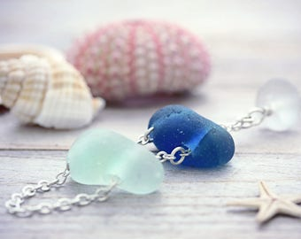 Seaglass Necklace Sea Glass Ladder Jewelry Bar Pendant Cobalt Blue Genuine Seaham Gift For Her Beach Jewellery Nautical Silver Free Shipping