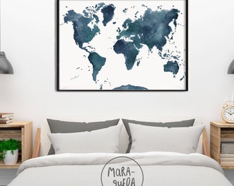 World map etsy original world map indigo blue hues dark blue and greenrge wall art print watercolor wedding christmas gift carte du monde wallart gumiabroncs Gallery