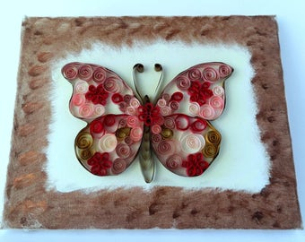 Pinky quilled butterfly on canvas - wall decor - home decor - Quilled art - painted canvas - quilling on canvas - butterfly lovers gift