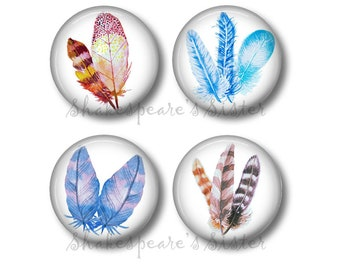 Feather Art - Fridge Magnets - 4 Magnets - 1.5 Inch Magnets - Feather Kitchen Magnets