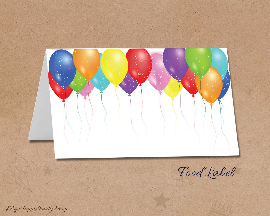 Happy Birthday Balloons With Names ~ Balloons label food cards balloons lace cards balloons