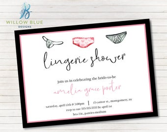 Lingerie Shower, Lingerie Bridal Shower, Lingerie Bachelorette Party, #521 5x7 Invitation