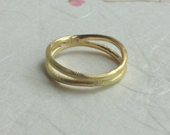 Fairtrade gold Double rough band in solid 18k fairmined yellow gold- mark of the maker- wedding ring