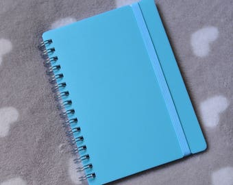 Sky blue lines A6 spiral notebook