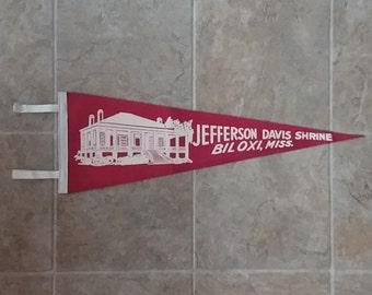 Jefferson Davis Shrine Biloxi MS Vintage Pennant