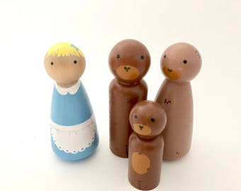 Goldilocks and the Three Bears peg doll set
