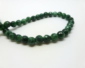 12 pearls tinted jade 6mm Green spotted faceted (USPJ08-5)