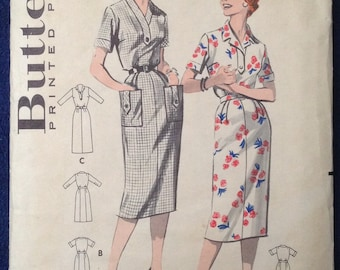 Vintage womens dress sewing pattern Butterick 8512 Bust 32 Sz 12 1950s 1960s mid century