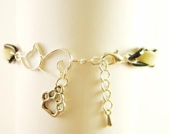 Kitty Cat & Paw Charm Velvet Ribbon Woven Black Diamond cut Curb Chain Bracelet Silver plated