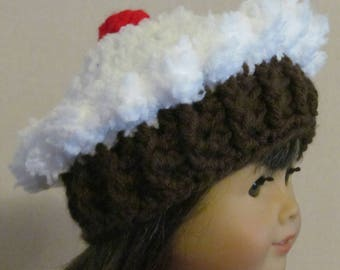 """Crochet Cupcake Hat ~ Fits 18"""" doll ~ White top with Dark brown bottom"""