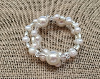 Freshwater and Shell Pearl Bracelet with Silver Spacers and White Spacer Beads
