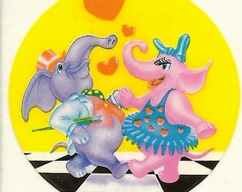 Vintage 80's Lisa Frank Dancing Elephants Sticker