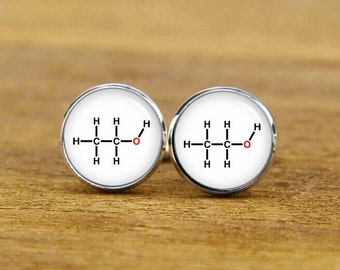 alcohol cufflinks, formula cufflinks, custom molecular formula, custom wedding cufflinks, personalized cufflinks, tie clip or a matching set