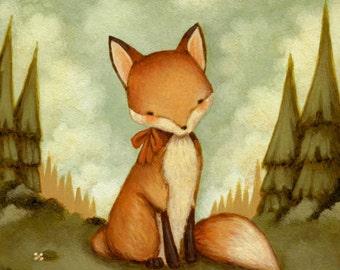 Little Fox In The Woods Print 8x10 - Fox Print, Fox Art, Kids Art, Fox Art Print, Woodland Nursery Art, Fox Baby Art, Girl, Boy, Baby Fox